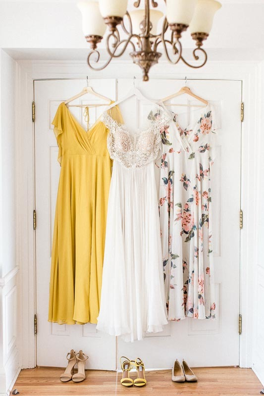 Mustard and Ivory Bridesmaids Dresses