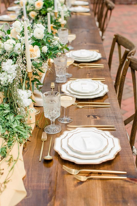 Spring Wedding Table on Wood