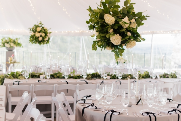 Tent Wedding with Tall Centerpieces