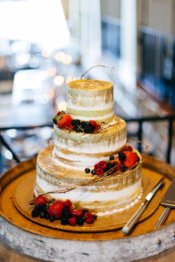 Wedding Cake with Minimal Frosting