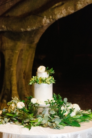 Wedding Cake with a Bed of Greenery