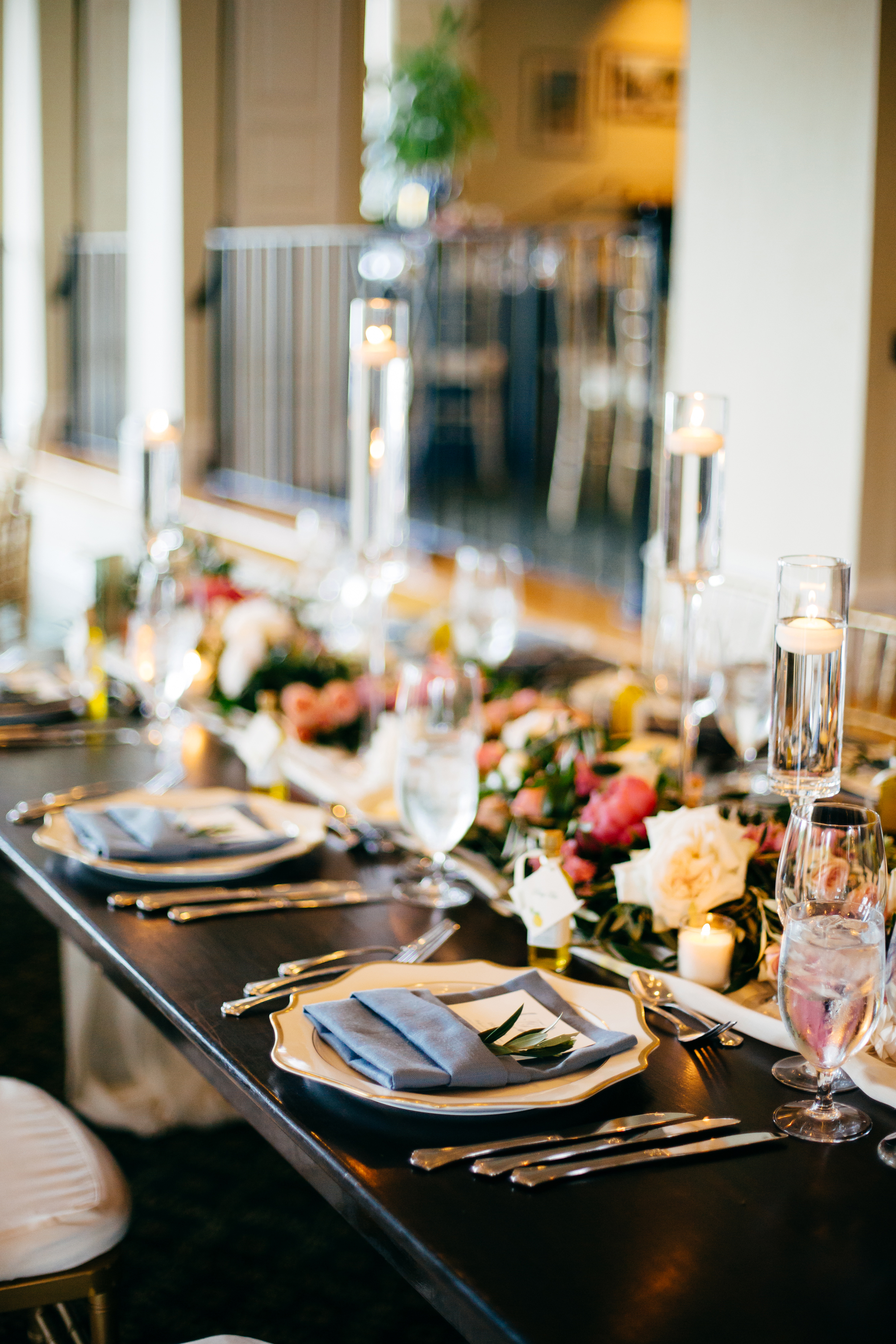 Wooden Wedding Tables with Gold China