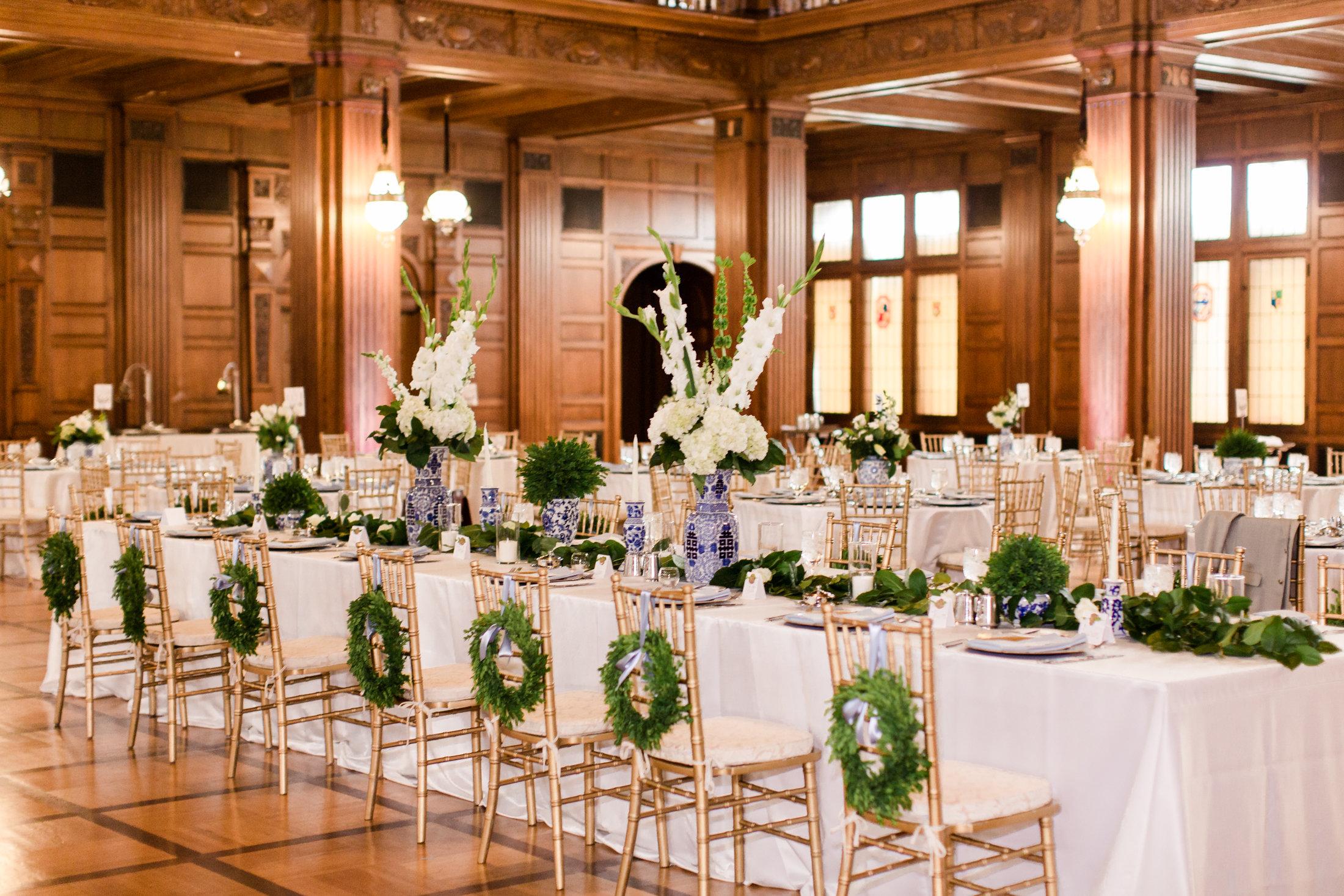 Wedding Reception with Wreath Decor
