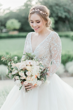 Bride in Gown with Beaded Bodice