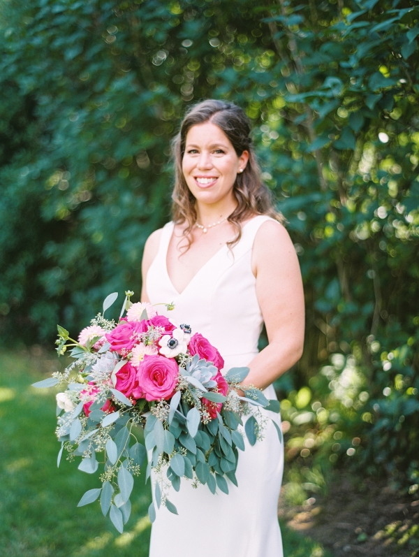 Bride with Hot Pink Bouquet