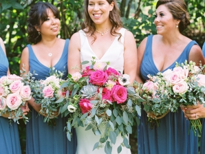 Bridesmaids in Blue with Pink Bouquets