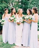 Bridesmaids in Light Blue Dresses