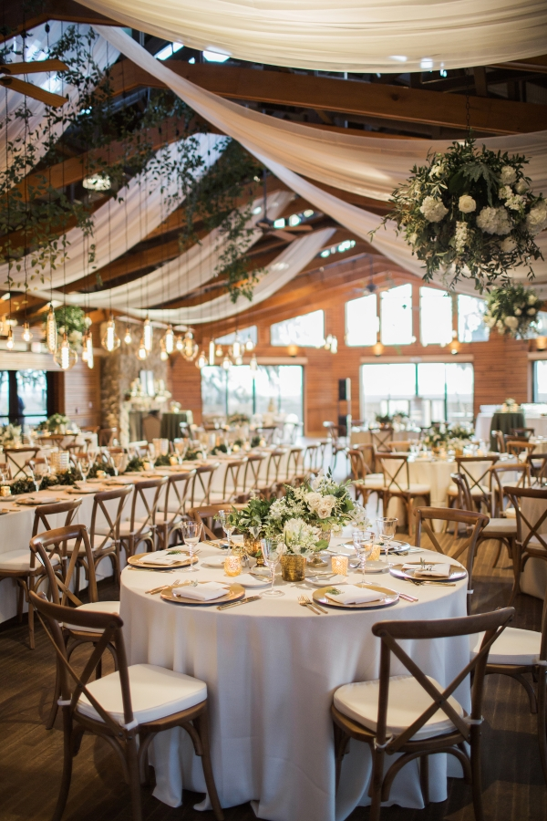 Ceiling Draping and Greenery Chandeliers for Wedding