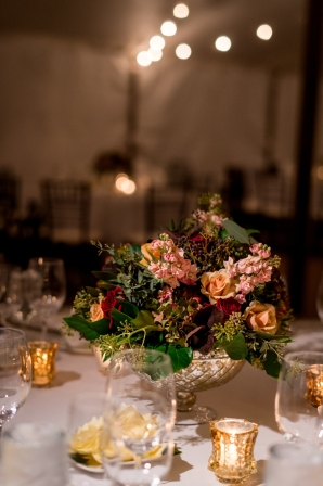 Deep Red and Gold Centerpieces
