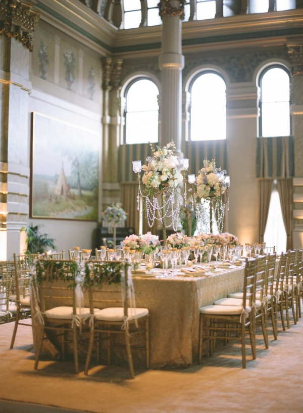 Elegant Glamorous Wedding Reception with Crystals and Gold