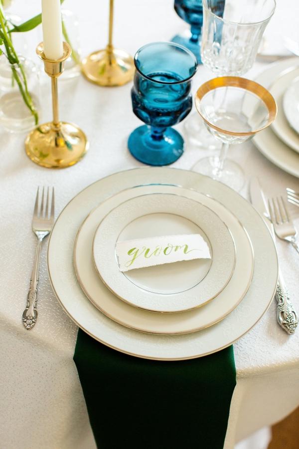 Elegant Hunter Green Wedding Inspiration Alexandra Lee48