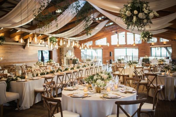 Elegant White and Green Wedding Reception