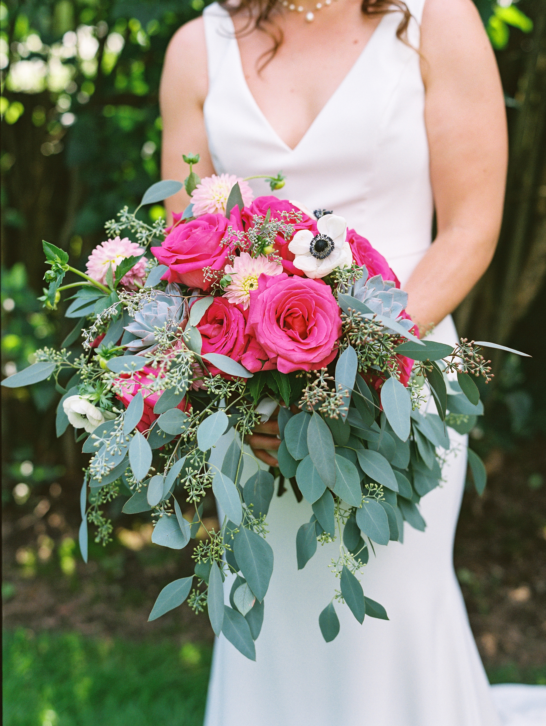 Fuchsia and Green Bridal Bouquet