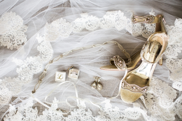 Gold Bridal Shoes and Veil Detail