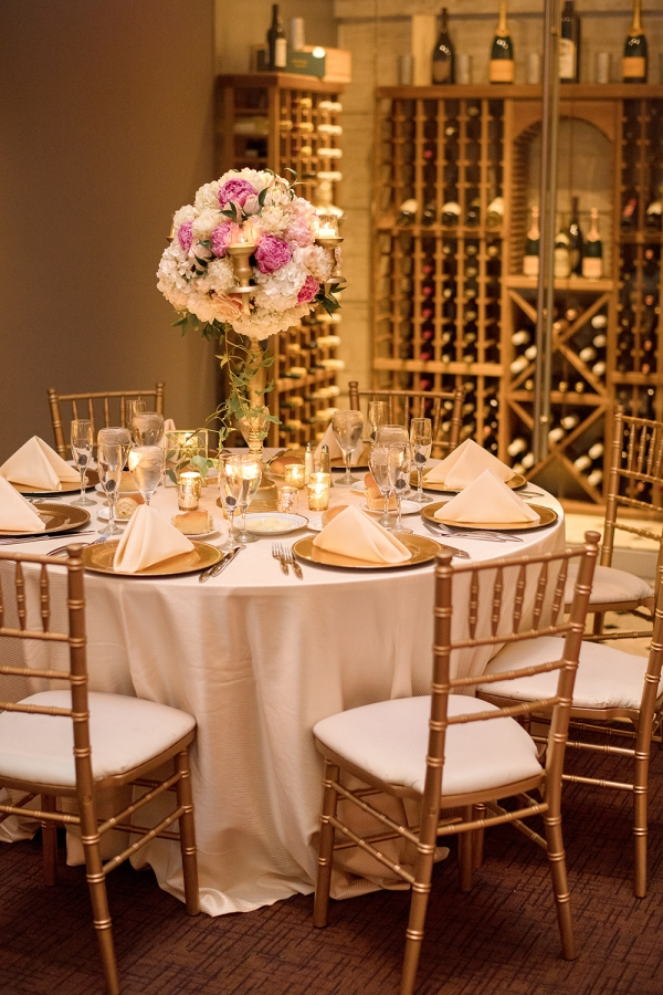 Gold and Radiant Orchid Wedding Reception