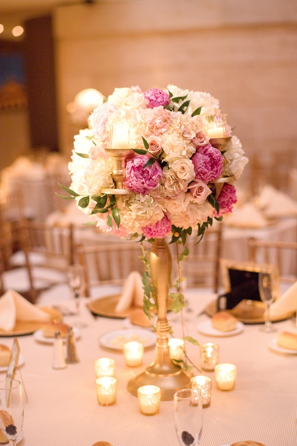 Hydrangea and Peony Tall Wedding Centerpiece