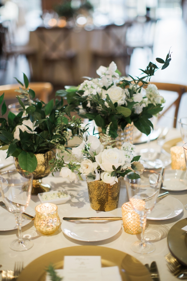 Organic Green and Gold Centerpiece