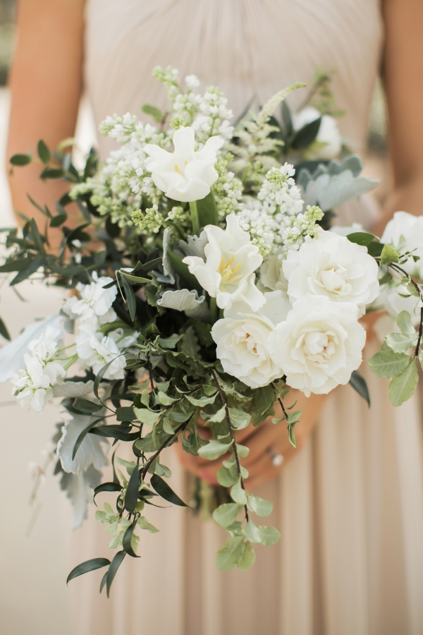 Organic Green and Ivory Bridesmaid Bouquet