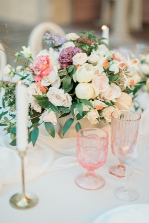 Pink Vintage Glass at Wedding Table