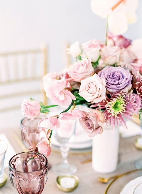 Pink and Purple Wedding Centerpieces