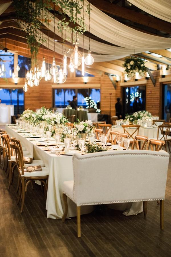 Romantic Lighting Over Wedding Table