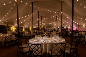 Tent Wedding with String Lights