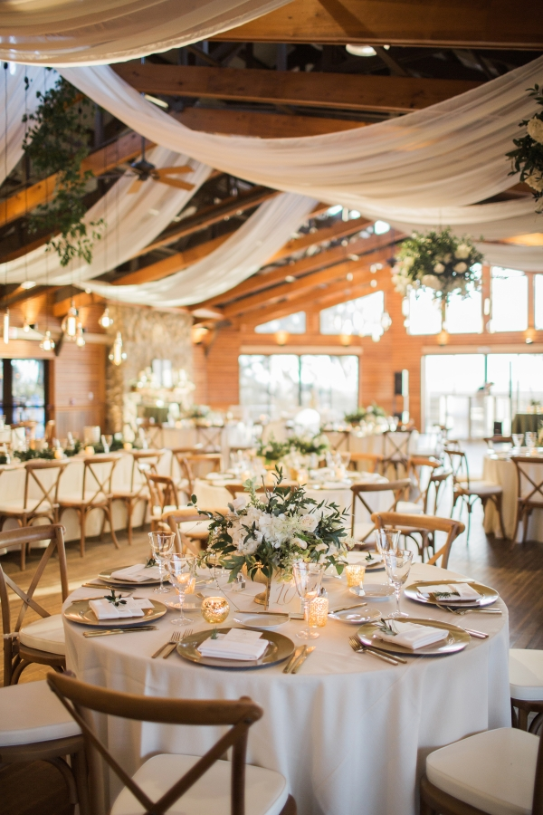 White and Gold Wedding Reception with Greenery