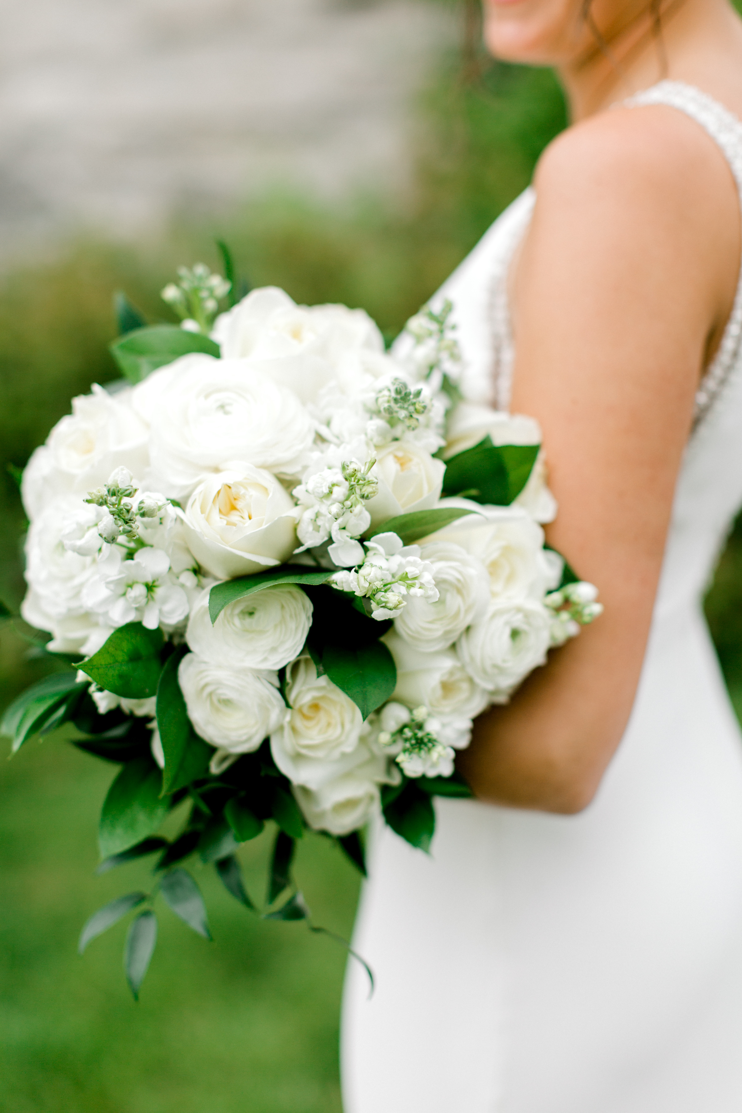 White and Green Bride Bouquet