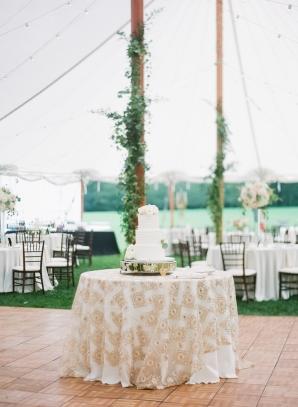 Wedding Cake Table on Dance Floor