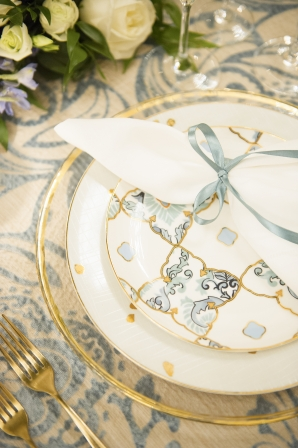 Blue and Gold Wedding Details