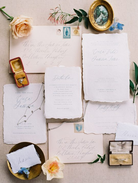 Antique French Inspired Wedding Calligraphy Invitations