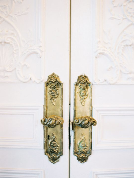 Antique French Scroll Doorknobs and Doorplates