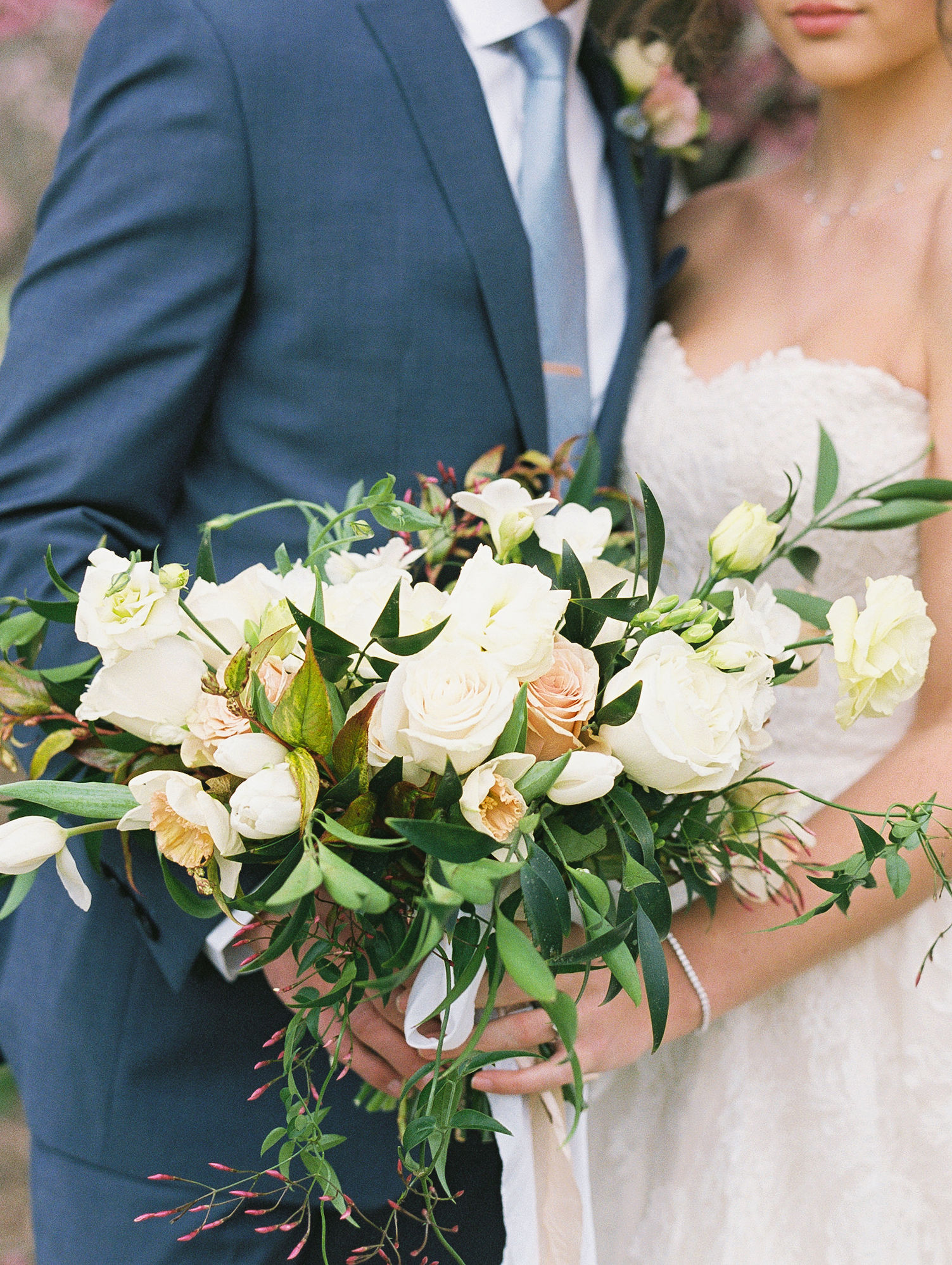 Peach Ivory Greenery Wedding Bouquet