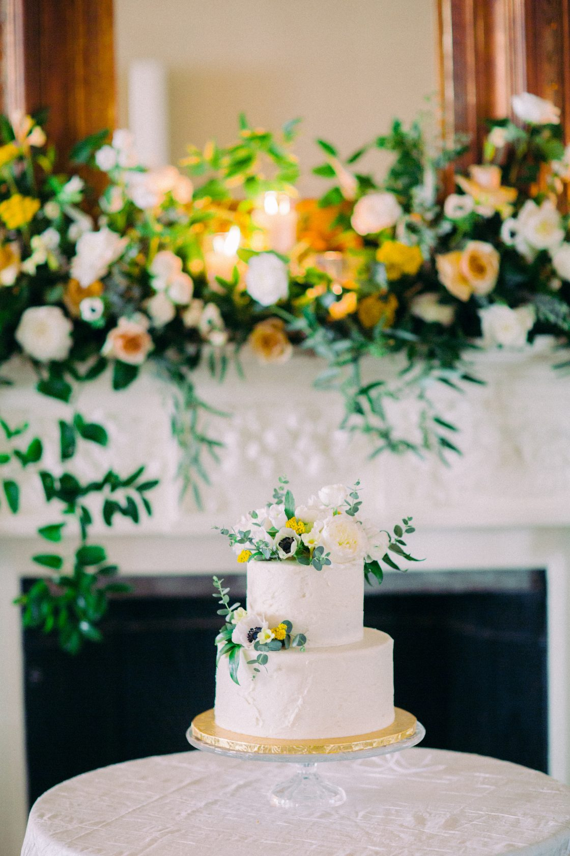 Petite Wedding Cake with Yellow Flowers