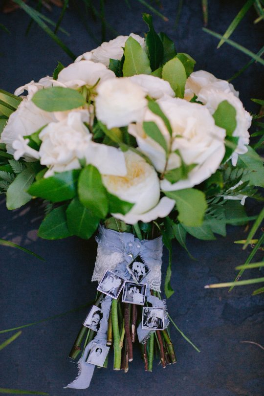 Photo Charms on Wedding Bouquet