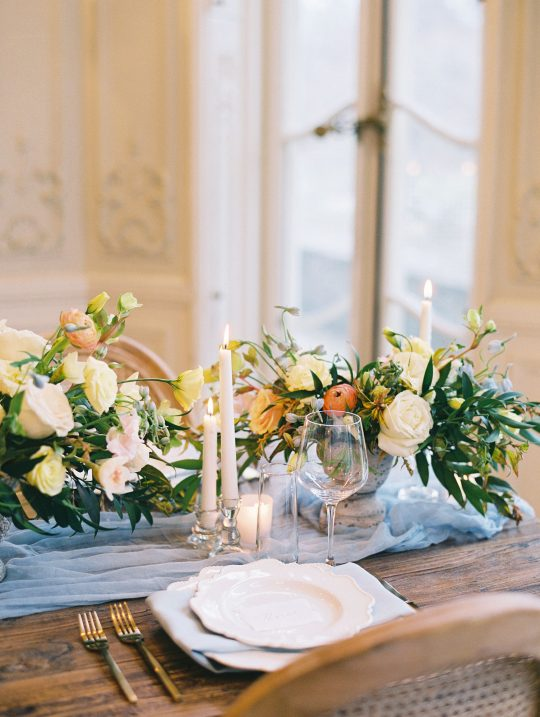 Romantic Muted Spring Wedding Tablescape Blue Chiffon Table Runner