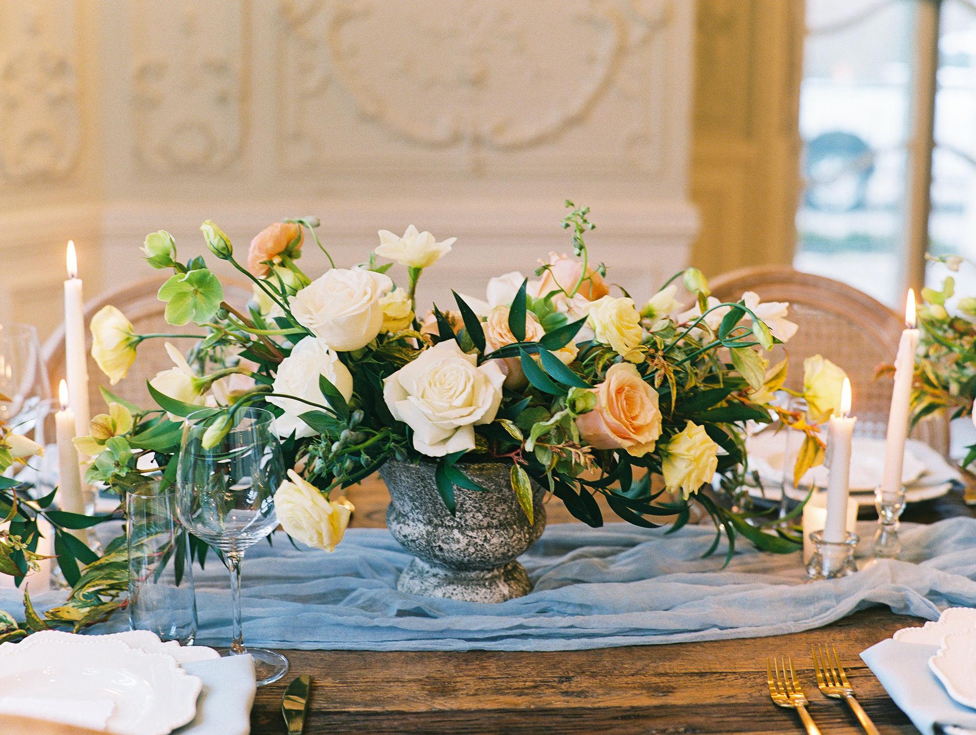 Romantic Rose Greenery Low Wedding Centerpiece