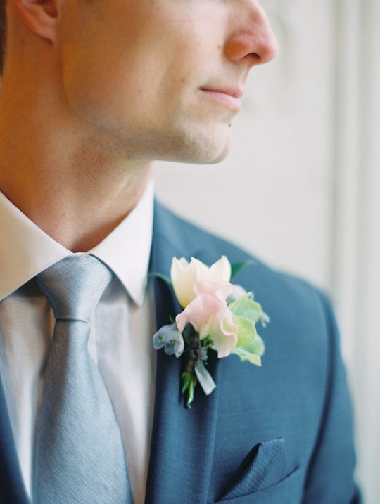 Romantic Sweet Pea Groom Boutonniere