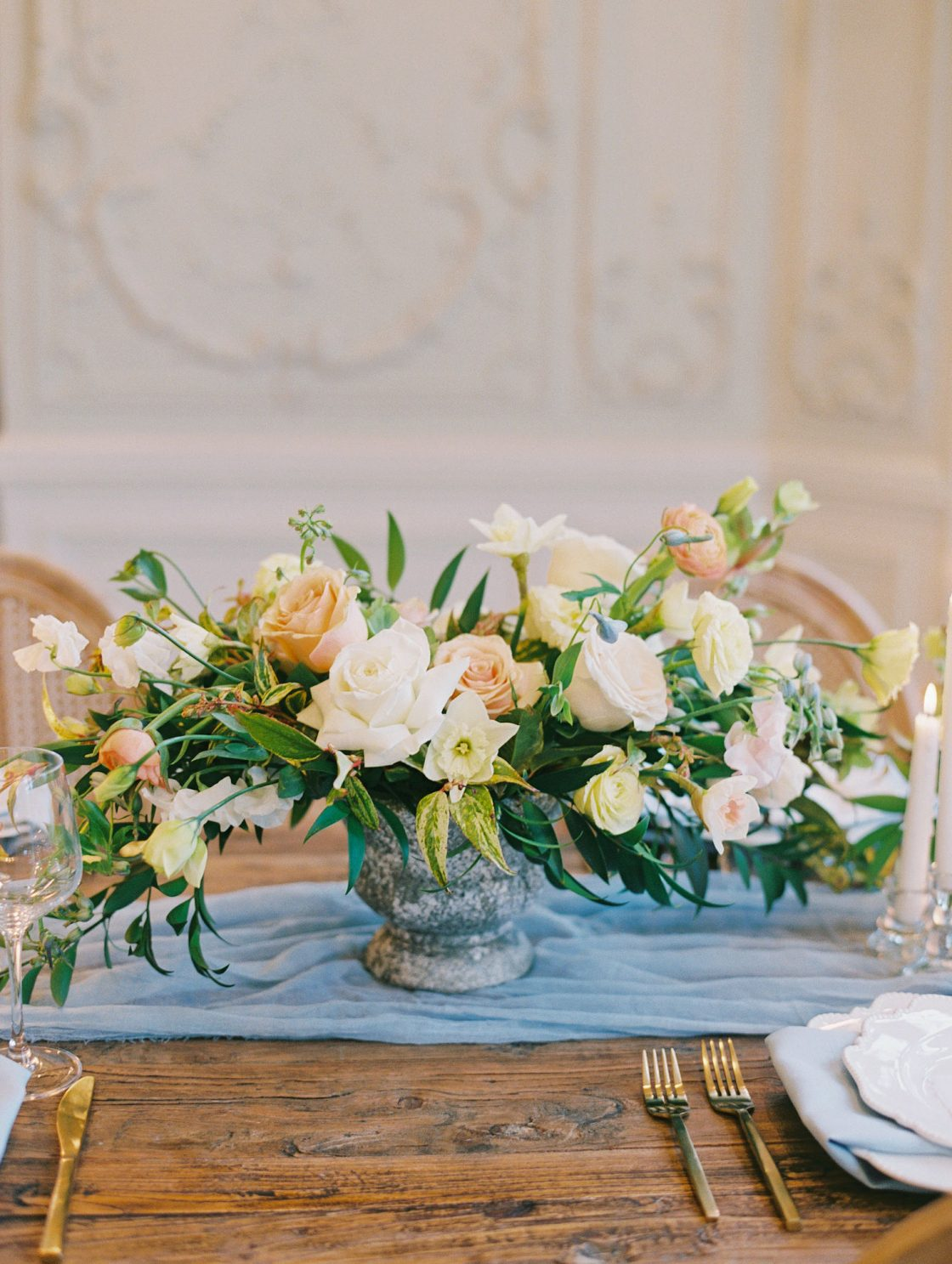 Rose Daffodil Springtime Wedding Centerpiece
