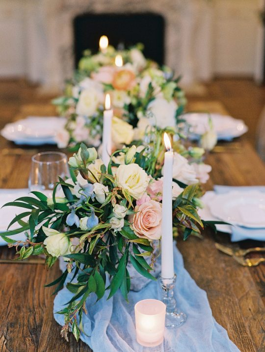 Soft Candlelit Floral Swag Wedding Tablescape