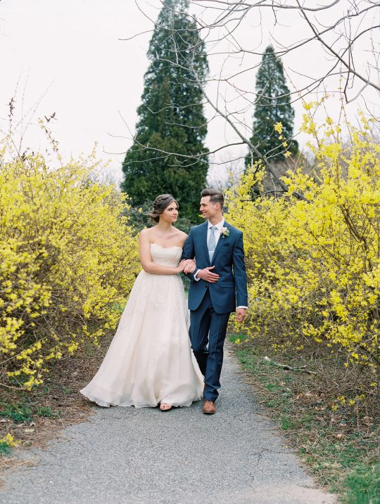 Springtime Forsythia Wedding Portrait