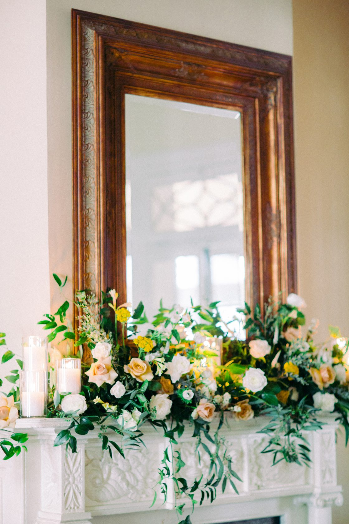 Yellow Flower Mantel Decor for Wedding