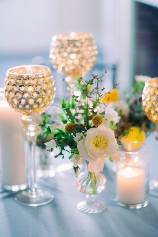 Yellow and Blue Wedding Reception