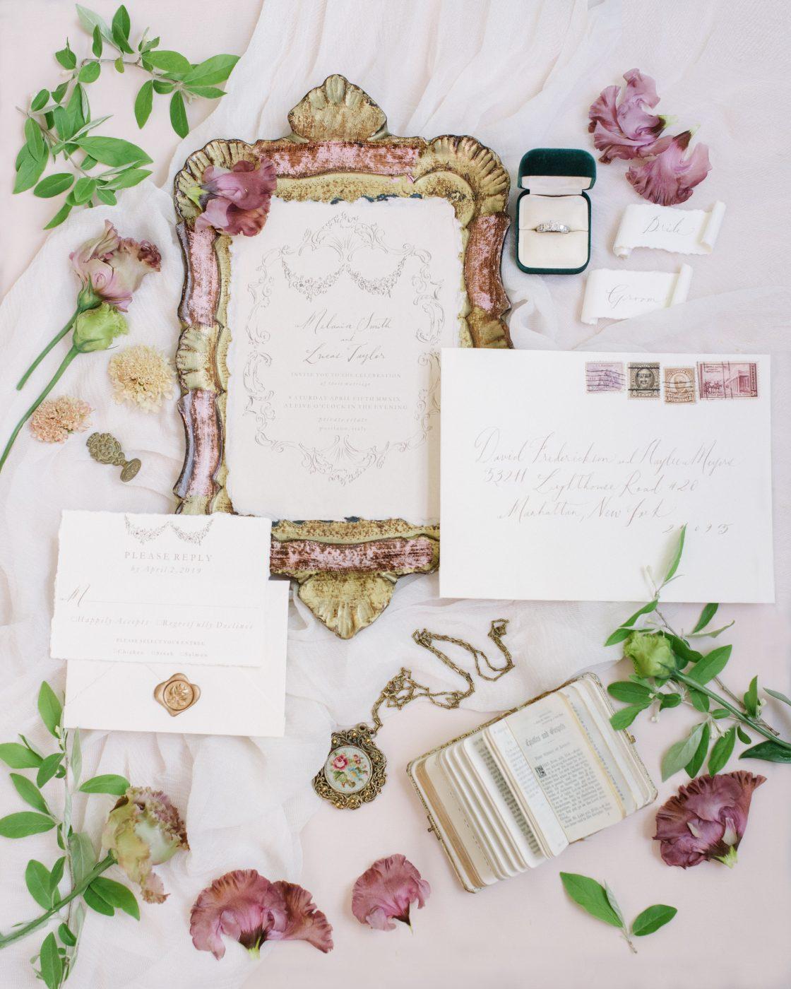Elegant Romantic European Inspired Wedding Invitation Suite