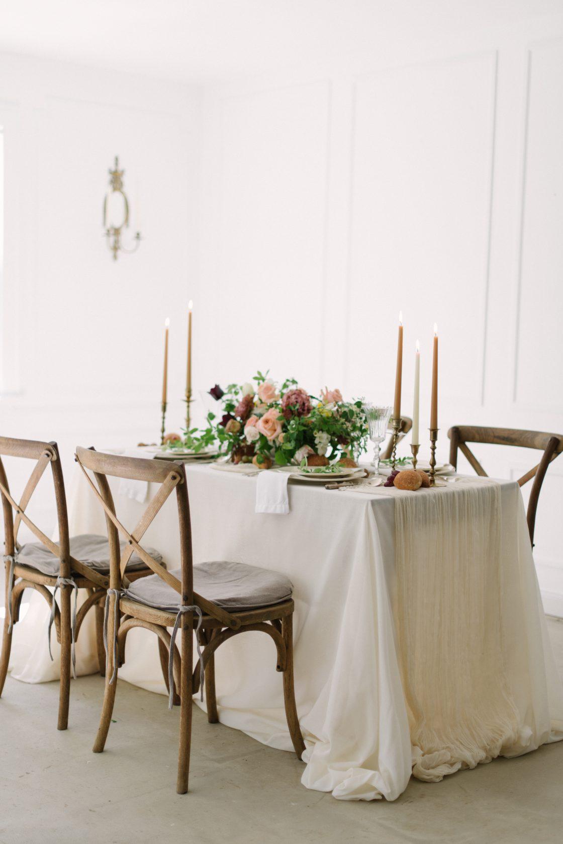 Natural Peach Mauve Wedding Table Centerpiece