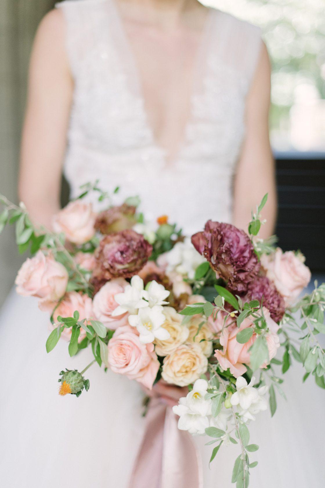 Peach Mauve Rose Wedding Bouquet