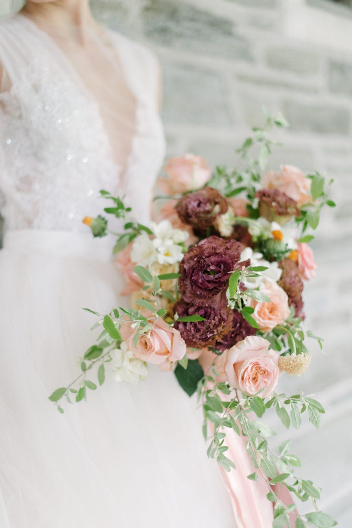 Peach Rose Burgundy Lisianthus Wedding Bouquet