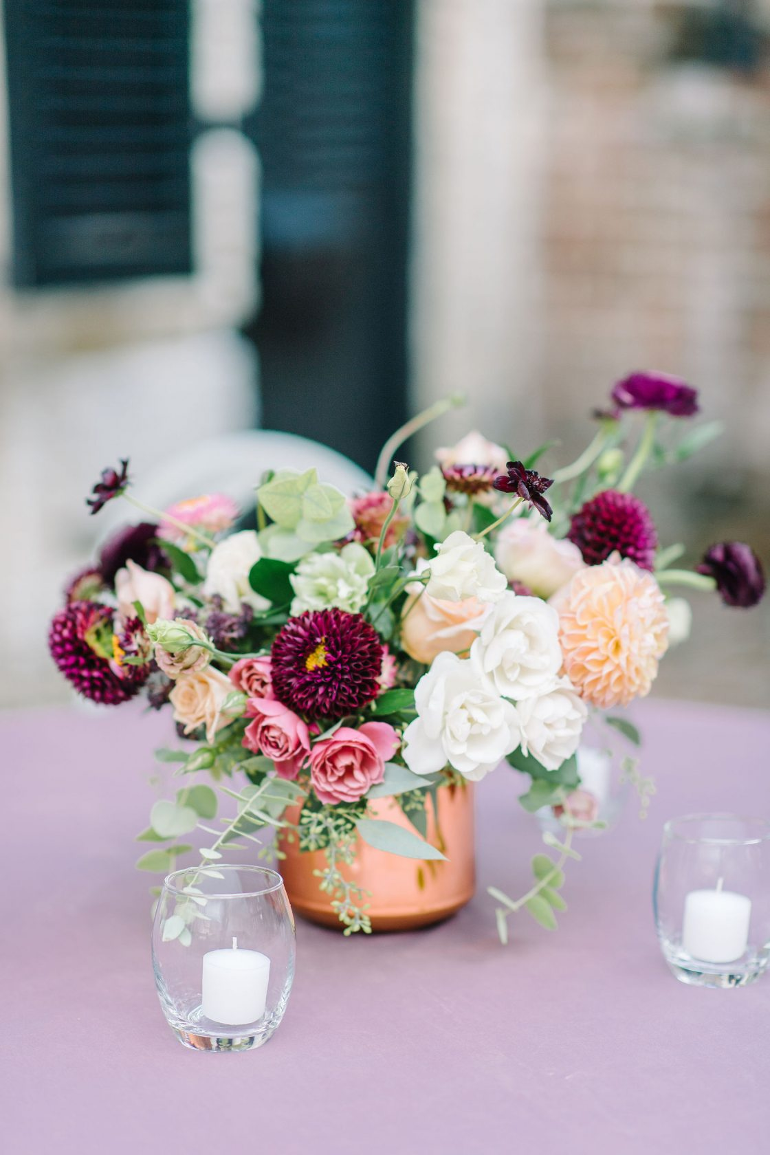 Copper and Burgundy Rose and Dahlia Centerpiece