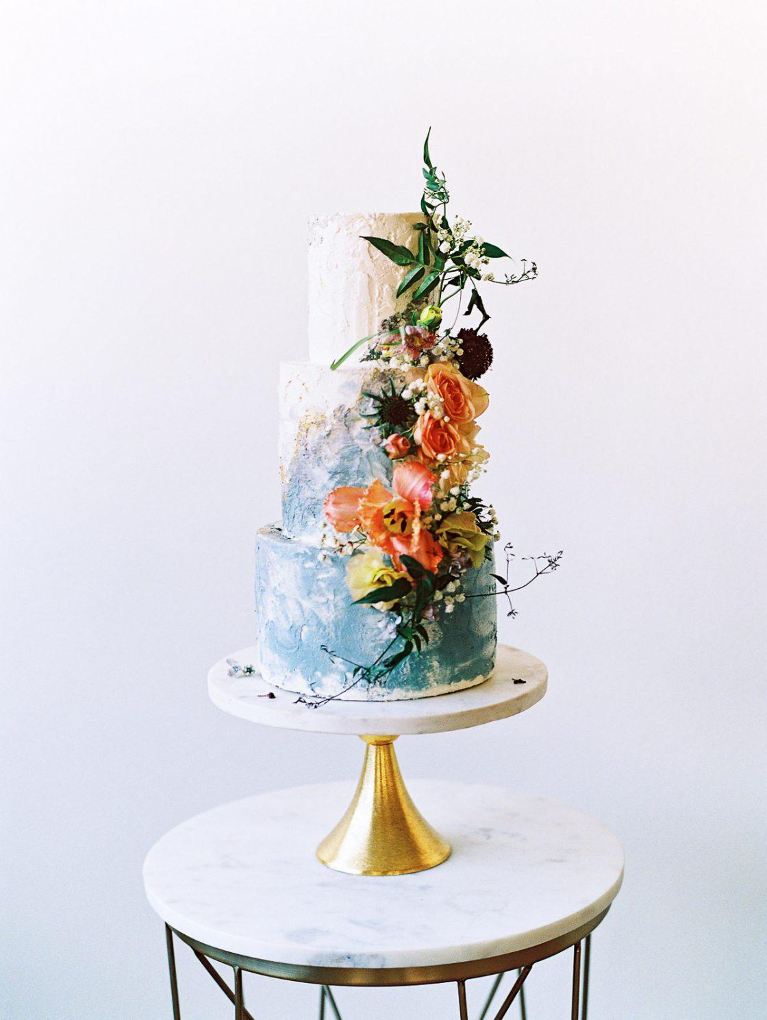 Painterly Organic Floral Wedding Cake