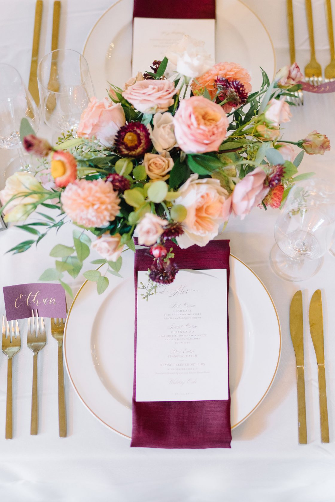 Peach and Burgundy Wedding Place Setting